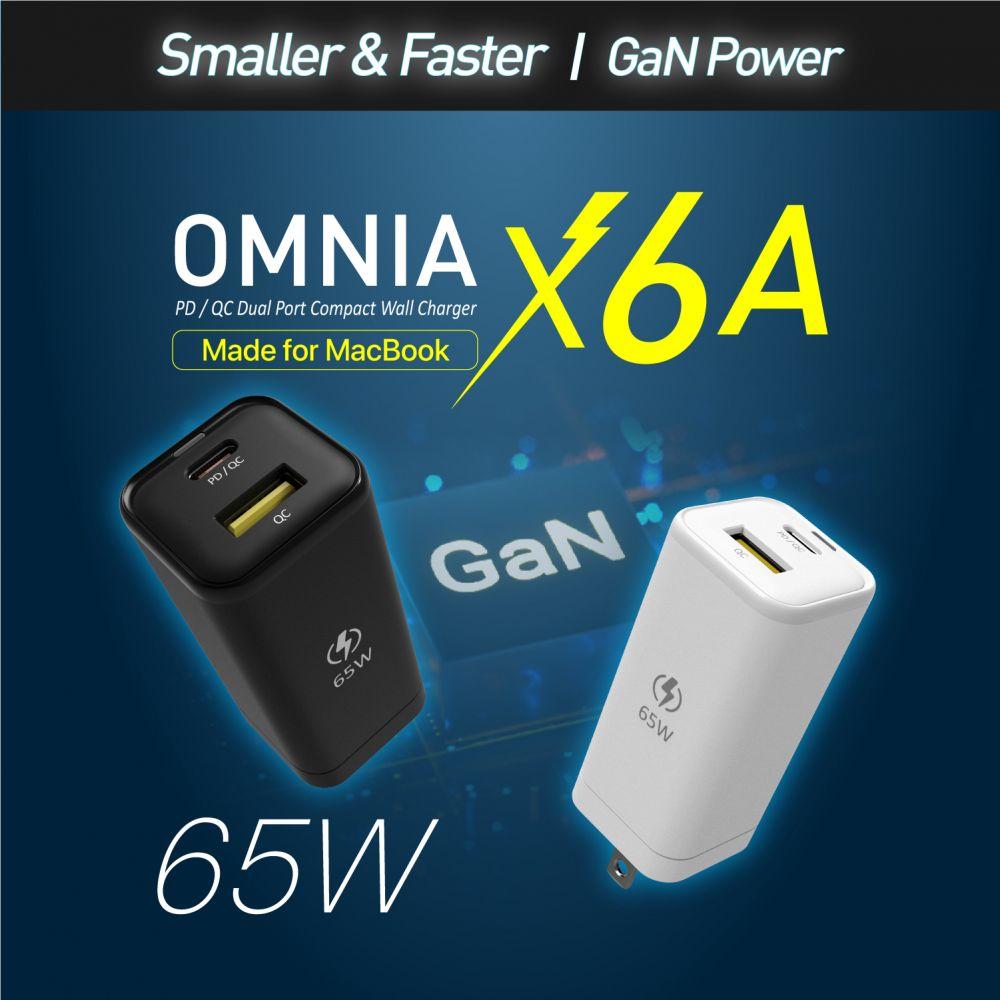 OMNIA X6A PD / QC 65W Compact Wall Charger (USB-C x 1, USB-A x 1)-US Plug