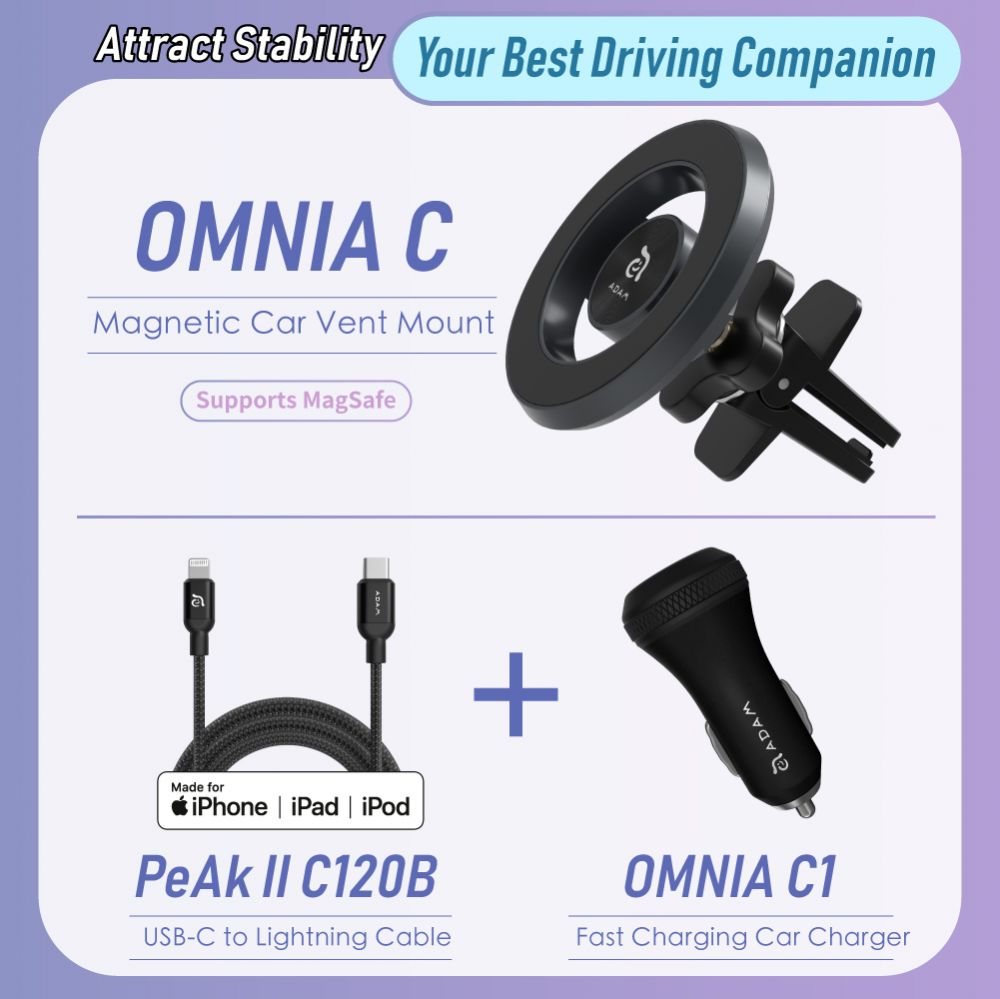 OMNIA C Magnetic Car Mount + USB-C PD & QC 36W Fast Charging Car Charger + USB-C to Lightning Cable