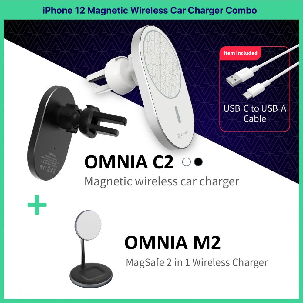 OMNIA C2 Magnetic Wireless Car Charger + Magnetic 2-in-1 Wireless Charger_Combo