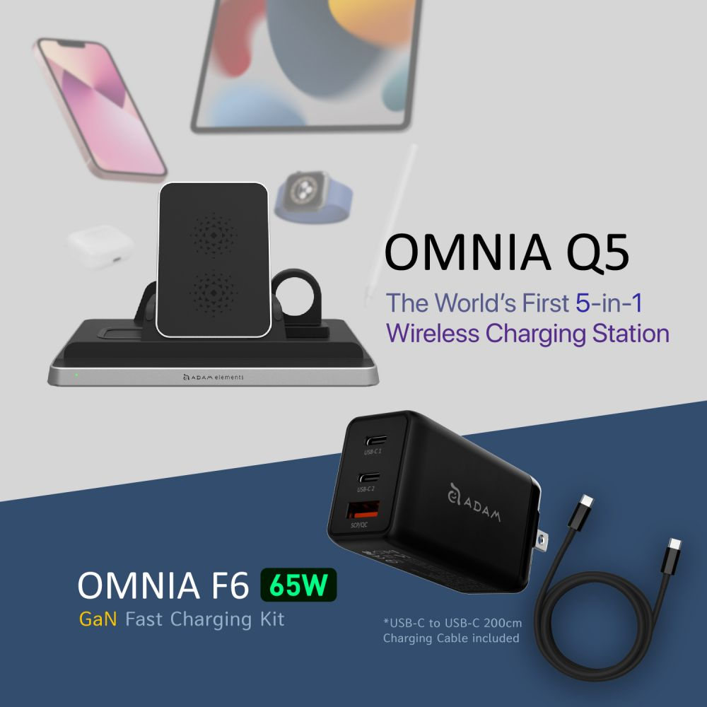 [Pre-Order] OMNIA Q5 5-in-1 Wireless Charging Station + 65W Super Charging Kit-US Plug