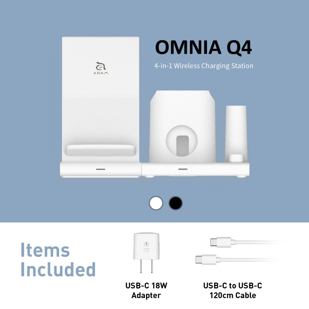 OMNIA Q4 15W 4-in-1 Wireless Charging Station * 18W Adapter Included *