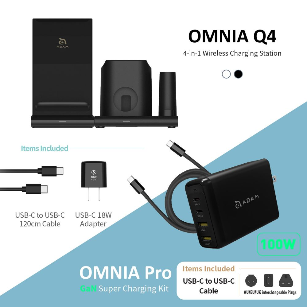 OMNIA Q4 15W 4-in-1 Wireless Charging Station * 18W Adapter Included * + OMNIA Pro 100W Super Charging Kit