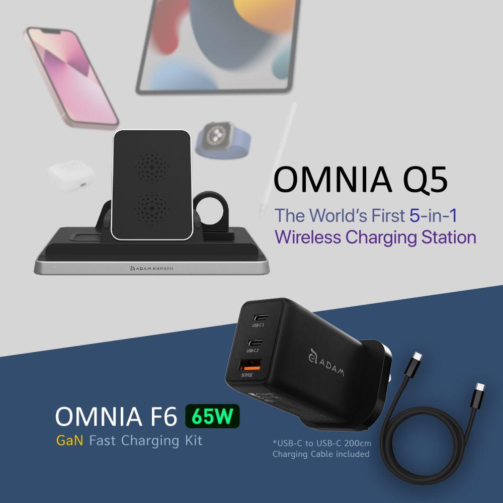 [Pre-Order] OMNIA Q5 5-in-1 Wireless Charging Station + 65W Super Charging Kit-UK Plug